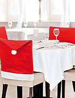 Недорогие -6 шт. Санта-Клаус красная шляпа наборы нетканых задних чехлов на стулья рождественский подарок 65 * 50 см