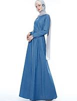 Недорогие -арабский Взрослые Жен. Косплей На каждый день Косплэй Kостюмы Арабское платье хиджаб Назначение Для вечеринок Halloween Ткань Демин Хэллоуин Карнавал Маскарад Платье
