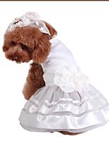Недорогие -Собаки Платья Одежда для собак Цветочные / ботанический Белый Полиэстер Костюм Назначение Лето Мужской Свадьба