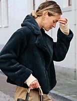 Недорогие -Жен. Повседневные Наступила зима Обычная Искусственное меховое пальто, Однотонный Отложной Длинный рукав Искусственный мех Черный / Темно-серый