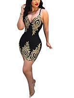 Недорогие -Жен. Классический Облегающий силуэт Оболочка Платье - Геометрический принт Выше колена