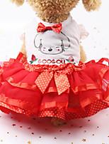 Недорогие -Собаки Коты Животные Платья Одежда для собак Бант Желтый Зеленый Красный Полиэстер Костюм Назначение Лето Мужской Свадьба
