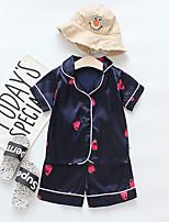 Недорогие -малыш Девочки На каждый день / Классический Фрукты С принтом С короткими рукавами Обычный Обычная Набор одежды Розовый