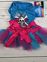 Недорогие -Собаки Коты Животные Платья Одежда для собак Бант Черепа Синий Полиэстер Костюм Назначение Осень Хэллоуин