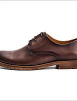 Недорогие -Муж. Комфортная обувь Кожа Лето Туфли на шнуровке Сохраняет тепло Черный / Коричневый / Кофейный