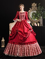 cheap -Maria Antonietta Vintage Rococo Medieval Winter Dress Party Costume Masquerade Women's Flounced Costume Burgundy Vintage Cosplay Party Masquerade 3/4-Length Sleeve Floor Length Ball Gown