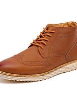 Недорогие -Муж. Армейские ботинки Полиуретан Осень На каждый день Туфли на шнуровке Ботинки Черный / Темно-русый / Серый