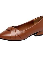 Недорогие -Жен. Обувь на каблуках На толстом каблуке Заостренный носок Полиуретан Минимализм Осень Черный / Коричневый / Бежевый