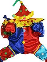 Недорогие -Собаки Коты Животные Костюмы Комбинезоны Волшебная Шляпа Одежда для собак В точечку Пэчворк Желтый Полиэстер Костюм Назначение Зима Хэллоуин Рождество