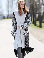 Недорогие -Жен. Повседневные Длинная Пальто, Геометрический принт V-образный вырез Длинный рукав Полиэстер Белый