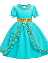 Недорогие -Дети Девочки Активный Милая Однотонный С короткими рукавами До колена Платье Зеленый