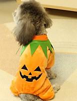 Недорогие -Собаки Плащи Одежда для собак Тыква Оранжевый Фланель Костюм Назначение Зима Праздник Хэллоуин
