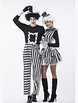 Недорогие -Клоун Косплэй Kостюмы Инвентарь Маскарад Взрослые Для пары Косплей Хэллоуин Хэллоуин Фестиваль / праздник Полиэстер Черный / Белый Для пары Карнавальные костюмы / Костюм