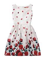 Недорогие -Дети Девочки Активный Милая Цветочный принт С принтом Без рукавов До колена Платье Белый