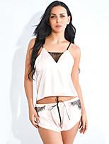 Недорогие -Жен. Открытая спина Костюм Ночное белье Однотонный Белый Розовый S M L