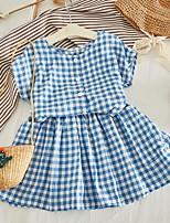 Недорогие -Дети Девочки Классический В клетку С короткими рукавами Набор одежды Синий