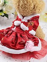 Недорогие -Собаки Коты Животные Платья Одежда для собак Лолита Красный Полиэстер Костюм Назначение Лето Этнический Новый год