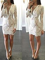Недорогие -Жен. Классический Элегантный стиль Облегающий силуэт Платье - Однотонный, Шнуровка Кружевная отделка Мини