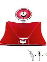 Недорогие -умывальник для ванной / смеситель для ванной / монтажное кольцо для ванной Современный - Закаленное стекло Квадратный Vessel Sink