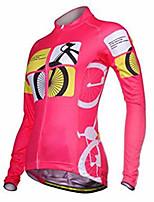 Недорогие -21Grams Жен. Длинный рукав Велокофты Розовый Велоспорт Джерси Верхняя часть Сохраняет тепло Устойчивость к УФ Дышащий Виды спорта Зима 100% полиэстер Горные велосипеды Шоссейные велосипеды Одежда