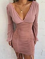 Недорогие -Жен. Элегантный стиль Облегающий силуэт Платье - Однотонный Мини