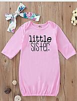 Недорогие -малыш Девочки Классический Однотонный Бант Длинный рукав 1 предмет Розовый