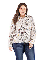 Недорогие -Жен. Рубашка Цветочный принт / Геометрический принт Белый