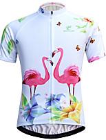 Недорогие -JESOCYCLING Фламинго Жен. С короткими рукавами Велокофты - Белый Велоспорт Джерси Дышащий Быстровысыхающий Анатомический дизайн Виды спорта 100% полиэстер Горные велосипеды Шоссейные велосипеды Одежда