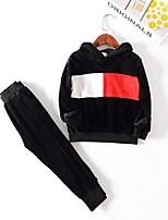Недорогие -Дети Мальчики Классический С принтом Длинный рукав Набор одежды Черный