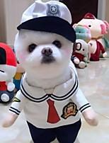 Недорогие -Собаки Коты Животные Костюмы Одежда для собак Полиция / армия Черный Белый Полиэстер Костюм Назначение Зима Хэллоуин