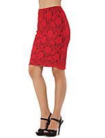 Недорогие -Жен. Секси / Изысканный Облегающий силуэт Подол Однотонный Красный S M L