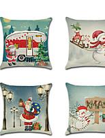 Недорогие -4.0 штук Лён Наволочка, Праздник Мультипликация европейский Рождество Бросить подушку