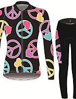 Недорогие -21Grams Знак мира Жен. Длинный рукав Велокофты и лосины - Черный / красный Велоспорт Наборы одежды Сохраняет тепло Дышащий Быстровысыхающий Виды спорта Зима Терилен Полиэфирная тафта