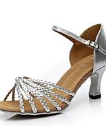 Недорогие -Жен. Танцевальная обувь Полиуретан Обувь для латины На каблуках Тонкий высокий каблук Золотой / Серебряный