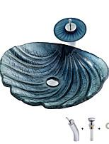 Недорогие -Производитель Boweiya серии Brown Shell серии умывальник из закаленного стекла с водопадом кран кран-пусковая установка bwy19-163 для современного абстрактного искусства бассейна