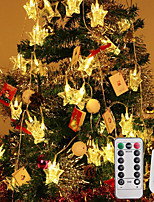Недорогие -3м струнные светильники 20 светодиодов 1 пульт дистанционного управления с 13 клавишами теплый белый / свет для вечеринки / звездочки / атмосфера для вечеринки по случаю дня рождения / декоративные