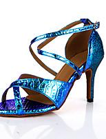 Недорогие -Жен. Танцевальная обувь Полиуретан Обувь для латины На каблуках Тонкий высокий каблук Персонализируемая Темно-зеленый
