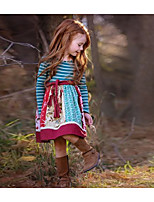 Недорогие -Дети Девочки Полоски Платье Синий