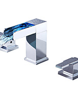 cheap -Bathroom Sink Faucet - LED / Waterfall Chrome Widespread Two Handles Three HolesBath Taps
