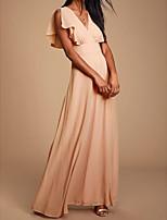 Недорогие -А-силуэт V-образный вырез В пол Шифон Выпускной Платье с Плиссировка от LAN TING Express