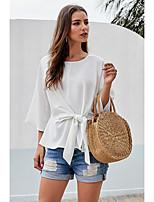 Недорогие -Жен. Шнуровка Блуза Классический Однотонный Белый
