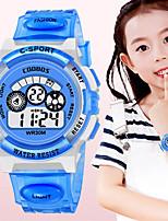 Недорогие -Дети электронные часы Цифровой силиконовый Черный / Синий 30 m Защита от влаги Секундомер Фосфоресцирующий Цифровой Новое поступление Мода - Черный Черный / Синий Оранжевый / Один год