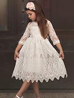Недорогие -Дети Девочки Однотонный Геометрический принт До колена Платье Белый