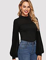 Недорогие -Жен. Кружева Блуза Однотонный Черный