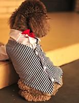 Недорогие -Собаки Плащи Инвентарь Одежда для собак Полоски Черный Полиэстер Костюм Назначение Лето Свадьба
