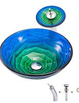 Недорогие -Производитель Boweiya партии BWY19-149 компактный термоклей розово-сине-зеленый круглый умывальник из закаленного стекла с кронштейном для умывальника с водопадом
