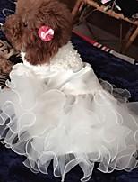 Недорогие -Собаки Коты Платья Одежда для собак Однотонный Белый Полиэстер Костюм Назначение Лето Мужской Свадьба
