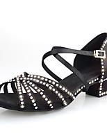 Недорогие -Жен. Танцевальная обувь Сатин Обувь для латины Лак / Кристаллы / Блеск На каблуках Толстая каблук Персонализируемая Черный