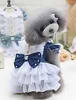 Недорогие -Собаки Платья Одежда для собак Бант Светло-синий Темно-синий Полиэстер Костюм Назначение Лето Мужской Свадьба