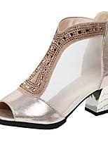 Недорогие -Жен. Танцевальная обувь Синтетика Обувь для латины На каблуках Кубинский каблук Черный / Золотой